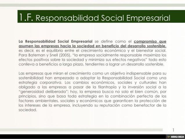 1.F. Responsabilidad Social Empresarial