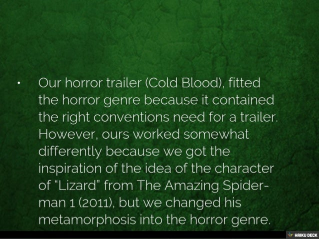 How does your trailer fit the conventions of you horror trailers? Slide 2