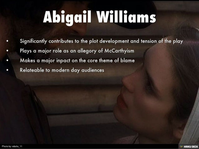 abigail williams from the crucible essay Abigail williams character analysis of the crucible essay  abigail williams ruined the lives of many people - abigail williams character analysis of the crucible essay introduction she was a troublemaker and throughout the story she causes much commotion in the town of salem by accusing many innocent people of witchcraft.