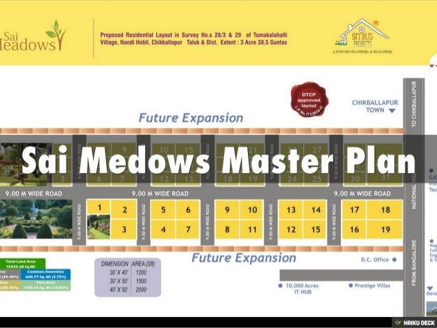 Sai Medows Residential Plots for Sale off International Airport Road,Near Nandi Hills,Bangalore