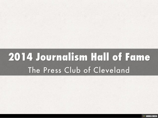 2014 Journalism Hall of Fame <br>The Press Club of Cleveland<br>