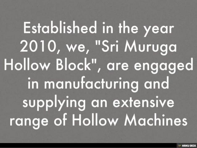 Welcome To Sri Muruga Hollow Block Slide 2
