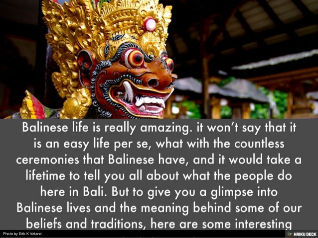 Fascinating Facts of Balinese Life Slide 2