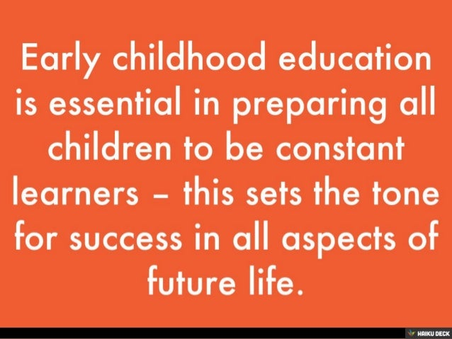 the importance of early childhood education State chiefs renewed their commitment to the importance of early learning in  equity starts early this policy statement outlines the actions states can take to.