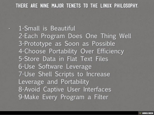 Linux Principles and Philosophy Slide 2