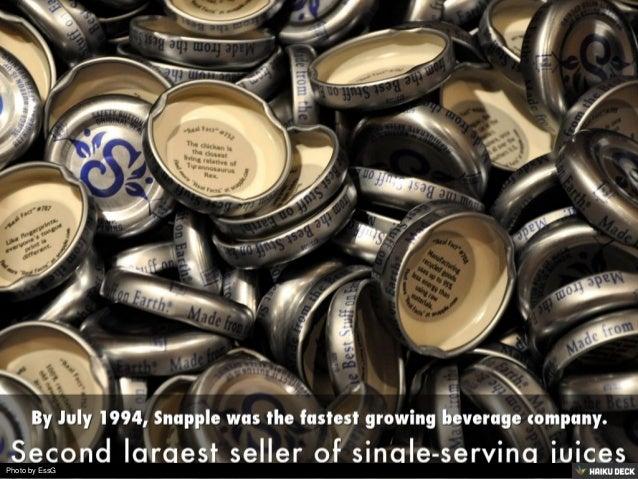 quaker oats and snapple Die quaker oats company ist ein traditionsreiches us-amerikanisches lebensmittelunternehmen mit  1994 bis 1997 die in den usa bekannte getränkefirma snapple.