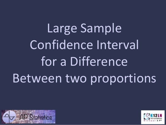 Large Sample Confidence Interval for a Difference Between two proportions