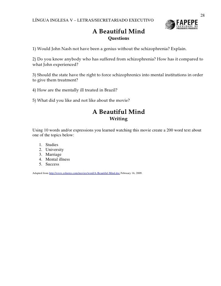 reaction paper on movie a beautiful mind A page for describing analysis: a beautiful mind how the movie depicted schizophrenia normally, the symptoms of john nash's schizophrenia are hard to.