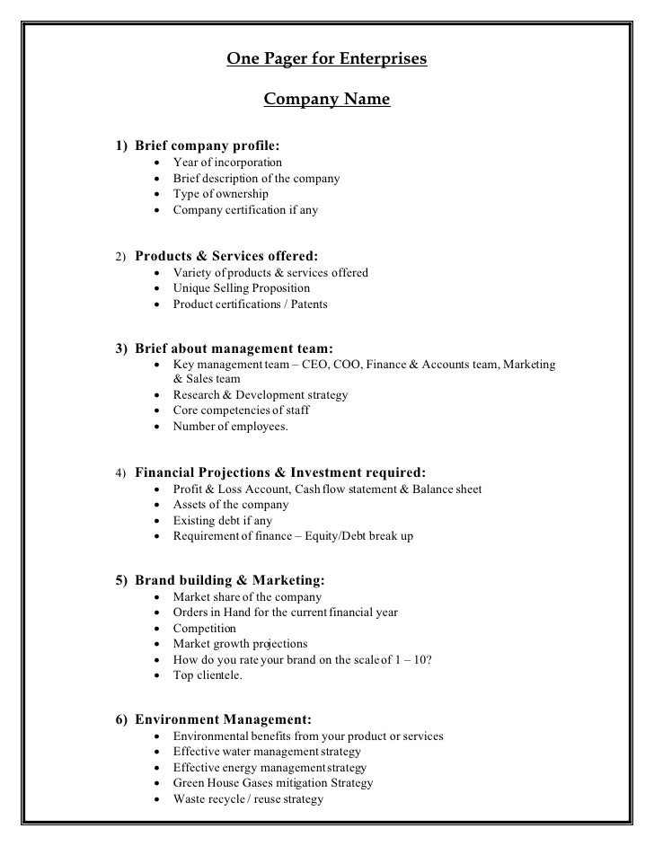 One Pager for Enterprises                             Company Name  1) Brief company profile:          Year of incorporat...