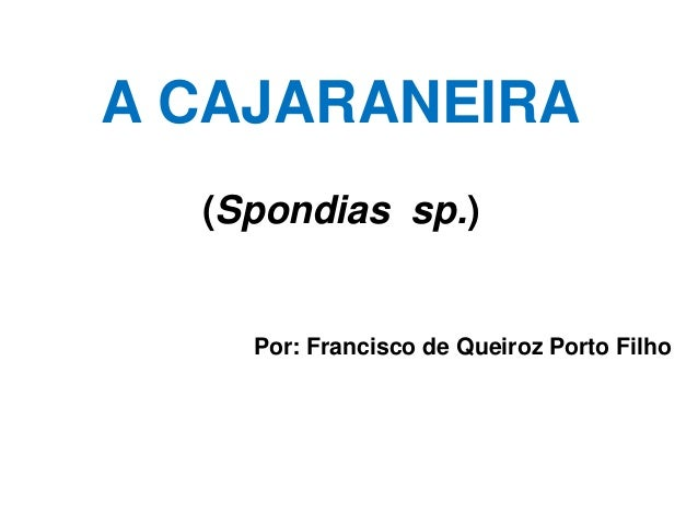 A CAJARANEIRA (Spondias sp.) Por: Francisco de Queiroz Porto Filho