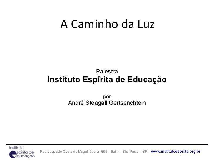 A Caminho da Luz Palestra Instituto Espírita de Educação por André Steagall Gertsenchtein