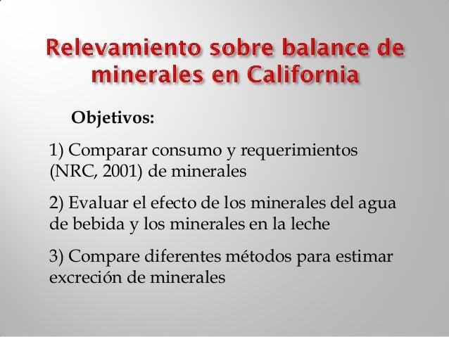    Producción de leche y consumo   Contenido de minerales de la dieta (TMR    + agua) vs requerimientos (NRC 2001)   Co...