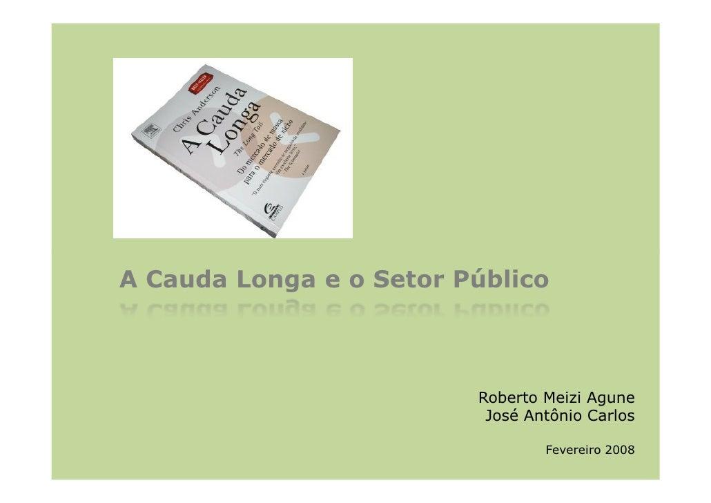 A Cauda Longa e o Setor Público                             Roberto Meizi Agune                           José Antônio Car...