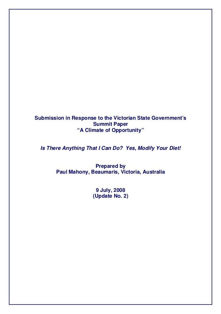 """Submission in Response to the Victorian State Government's                      Summit Paper                """"A Climate of ..."""