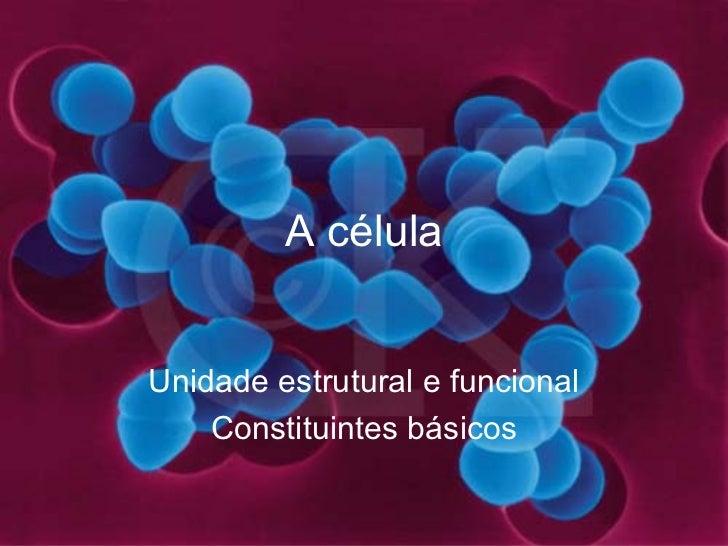 A célula Unidade estrutural e funcional Constituintes básicos