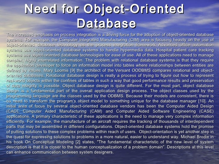 object oriented database case study A case study in object-oriented modeling and design of distributed multimedia applications1 angelo morzenti1, matteo pradella1.