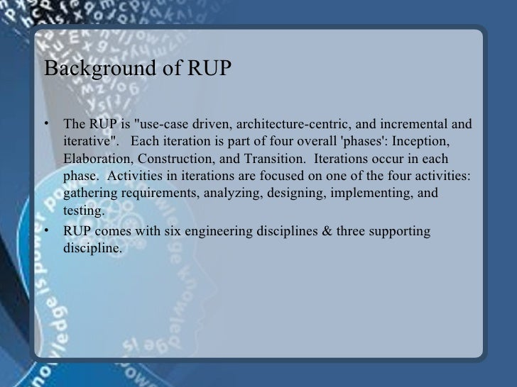 case study on rational unified process The rational unified process (rup) is a comprehensive software development process framework emphasizing use-cases, architecture focus and an iterative approach rup is widely known and many organizations have tried to adopt it being a framework, rup has to, in some way, be tailored to the.