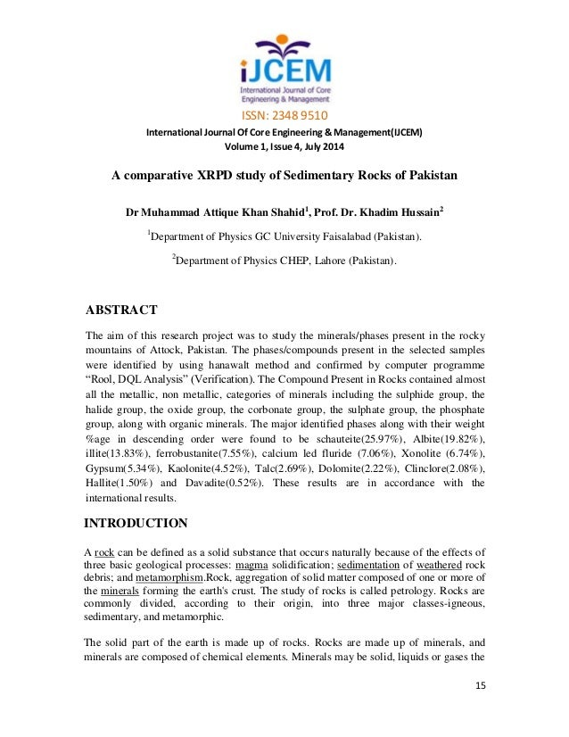 sedimentary rocks in pakistan Groundwater geochemistry of winder agricultural farms, balochistan, pakistan and  of sedimentary rocks  agricultural farms, balochistan, pakistan and.