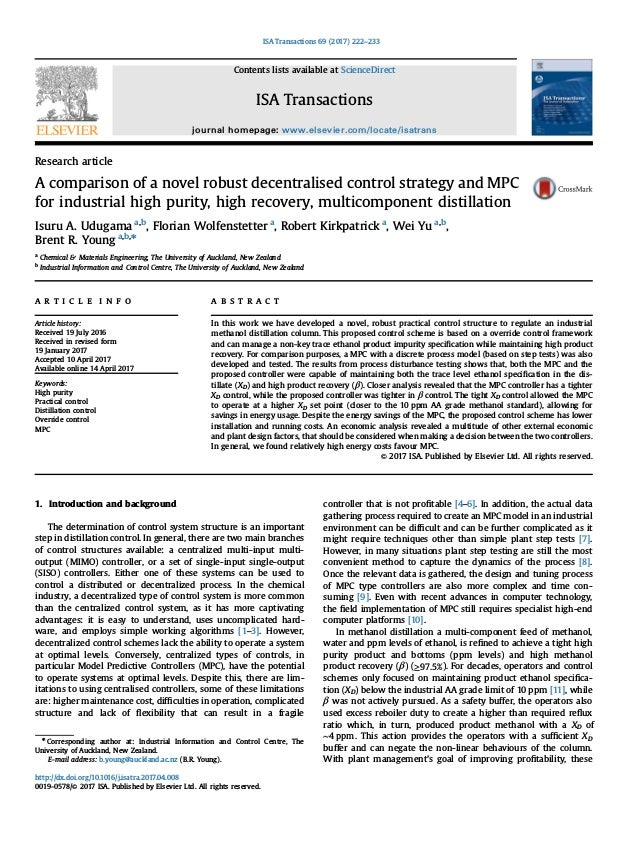 Research article A comparison of a novel robust decentralised control strategy and MPC for industrial high purity, high re...