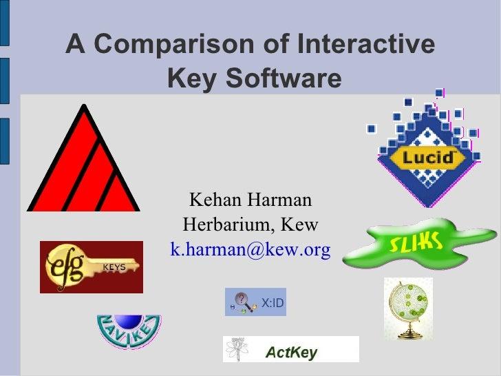 A Comparison of Interactive  Key Software <ul><ul><li>Kehan Harman </li></ul></ul><ul><ul><li>Herbarium, Kew </li></ul></u...