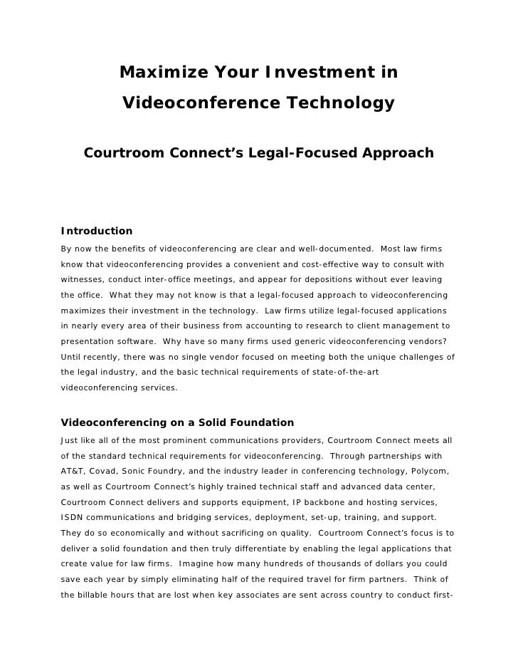 Maximize Your Investment in               Videoconference Technology       Courtroom Connect's Legal-Focused Approach     ...