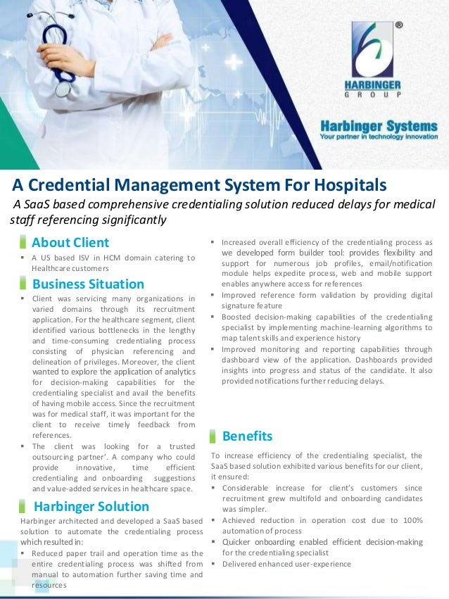 A Credential Management System For Hospitals A SaaS based comprehensive credentialing solution reduced delays for medical ...