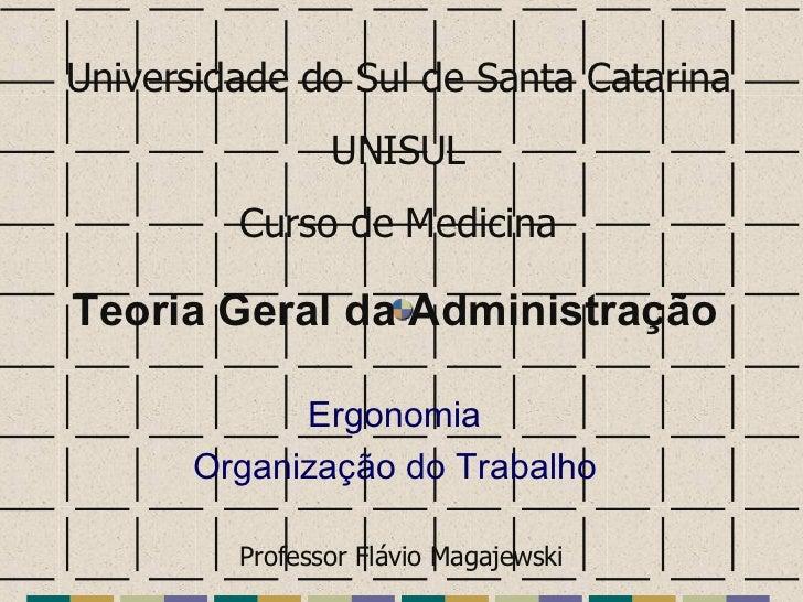 Teoria Geral da Administração Ergonomia Organização do Trabalho Universidade do Sul de Santa Catarina UNISUL Curso de Medi...