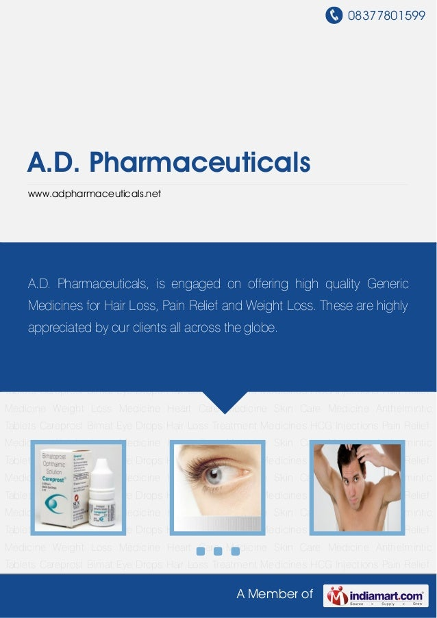 08377801599A Member ofA.D. Pharmaceuticalswww.adpharmaceuticals.netCareprost Bimat Eye Drops Hair Loss Treatment Medicines...