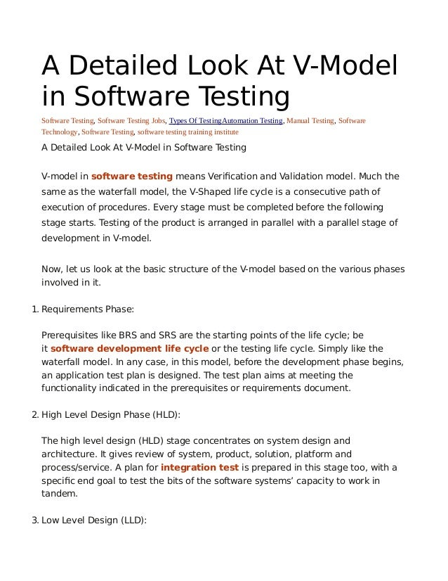 A Detailed Look At V Model In Software Testing