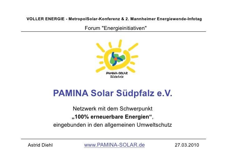 "VOLLER ENERGIE - MetropolSolar-Konferenz & 2. Mannheimer Energiewende-Infotag                            Forum ""Energieini..."