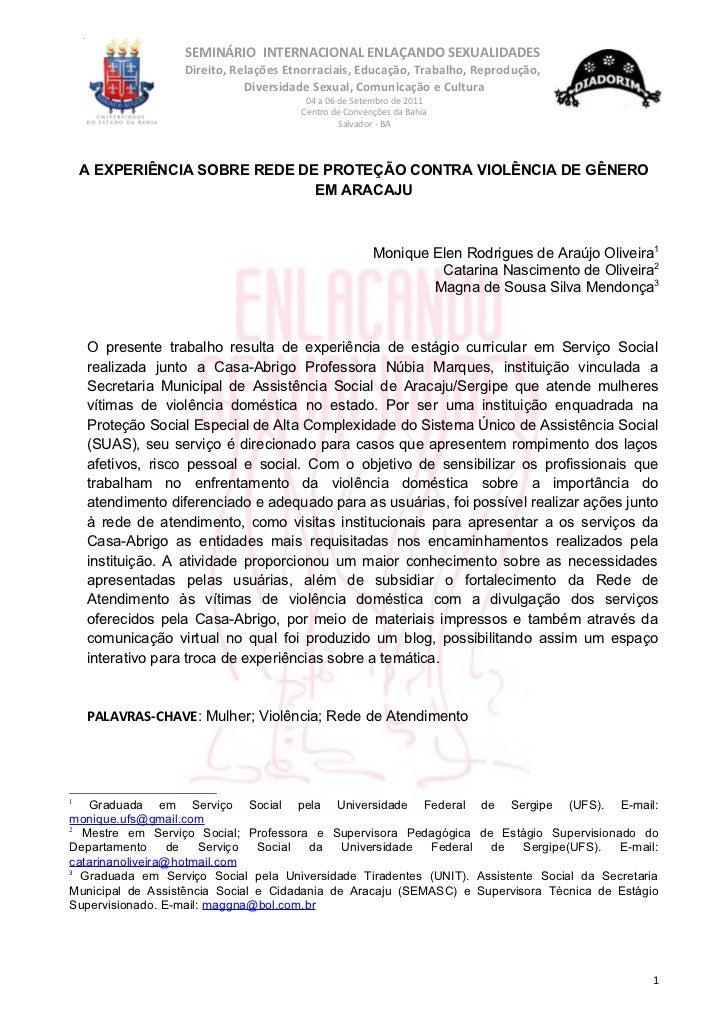 SEMINÁRIO INTERNACIONAL ENLAÇANDO SEXUALIDADES                  Direito, Relações Etnorraciais, Educação, Trabalho, Reprod...