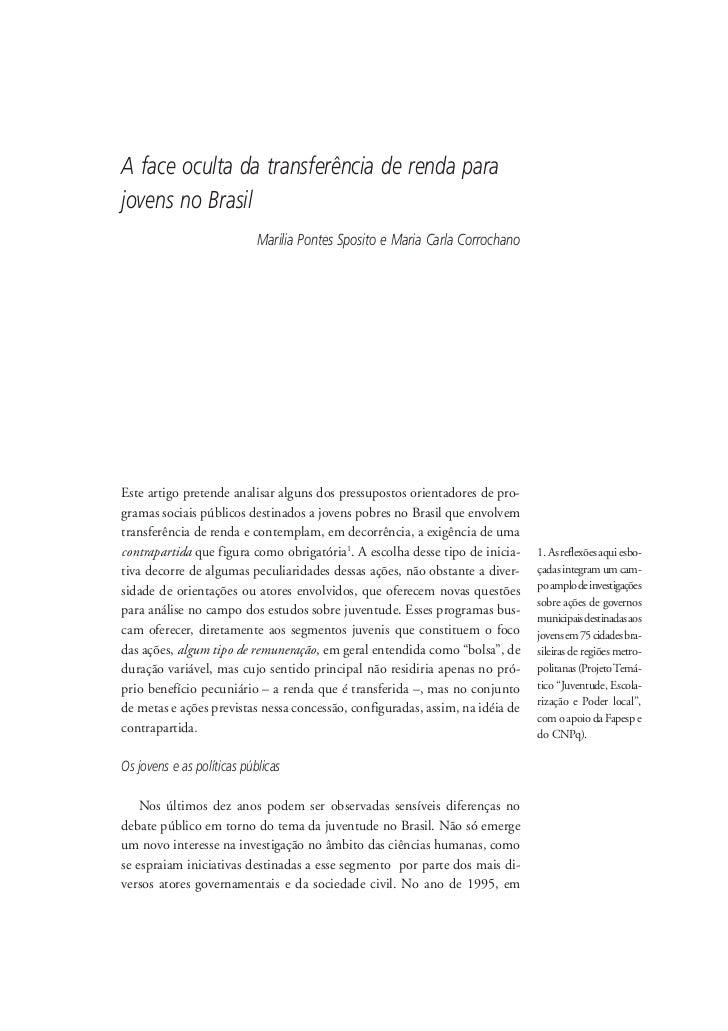 A face oculta da transferência de renda para jovens no Brasil                             Marilia Pontes Sposito e Maria C...