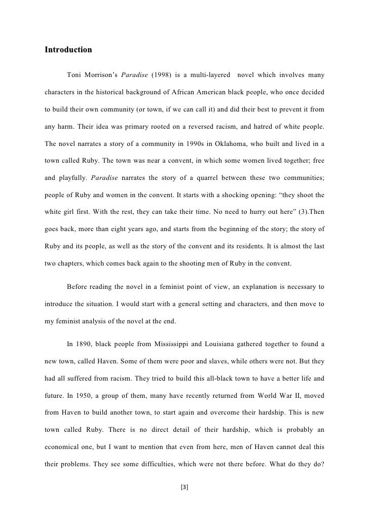 phd thesis on toni morrison Alice walker, and toni morrison grillo, giulia (2014) embodiment, voice, and self-actualisation: the african american female experience in novels by zora neale hurston, alice walker, and toni morrison phd thesis, school of english, media studies and art history, the university of queensland.
