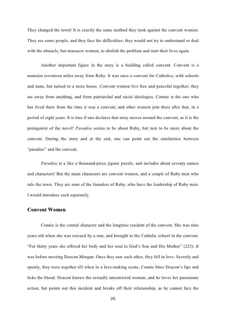 dealing with lives of dejected women in toni morrisons novel paradise Paradise: personae register (roughly in order of named 'appearance' as indicated by the page number) because we wished for a list of the many characters (with brief identifications) as we were reading paradise , we have compiled the following register for future readers.