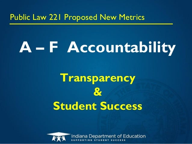 Public Law 221 Proposed New Metrics  A – F Accountability            Transparency                 &           Student Succ...