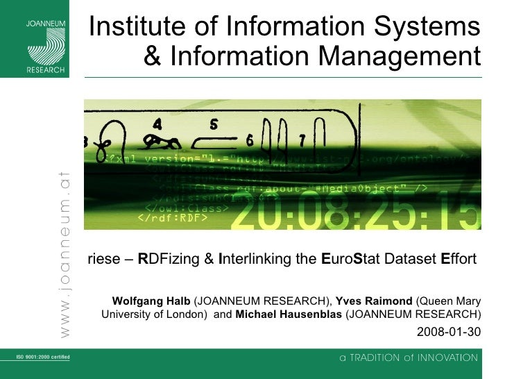 Institute of Information Systems & Information Management riese –  R DFizing &  I nterlinking the  E uro S tat Dataset  E ...