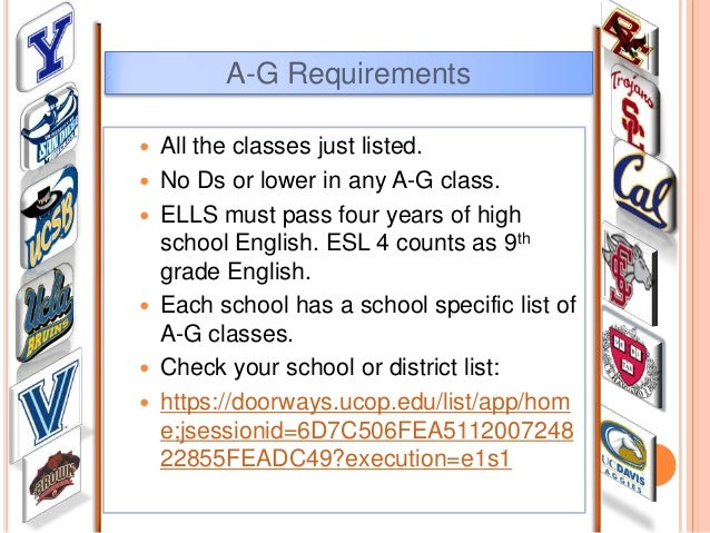 A-g requirements for high school