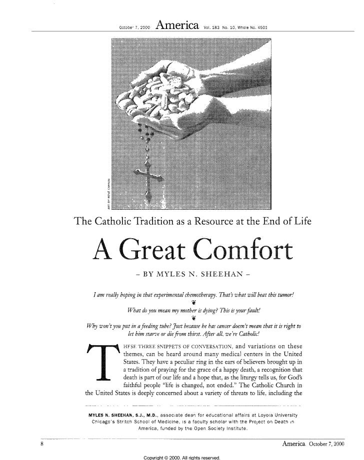 A  Great  Comfort  Catholic  Perspective Of  Endl Of  Life
