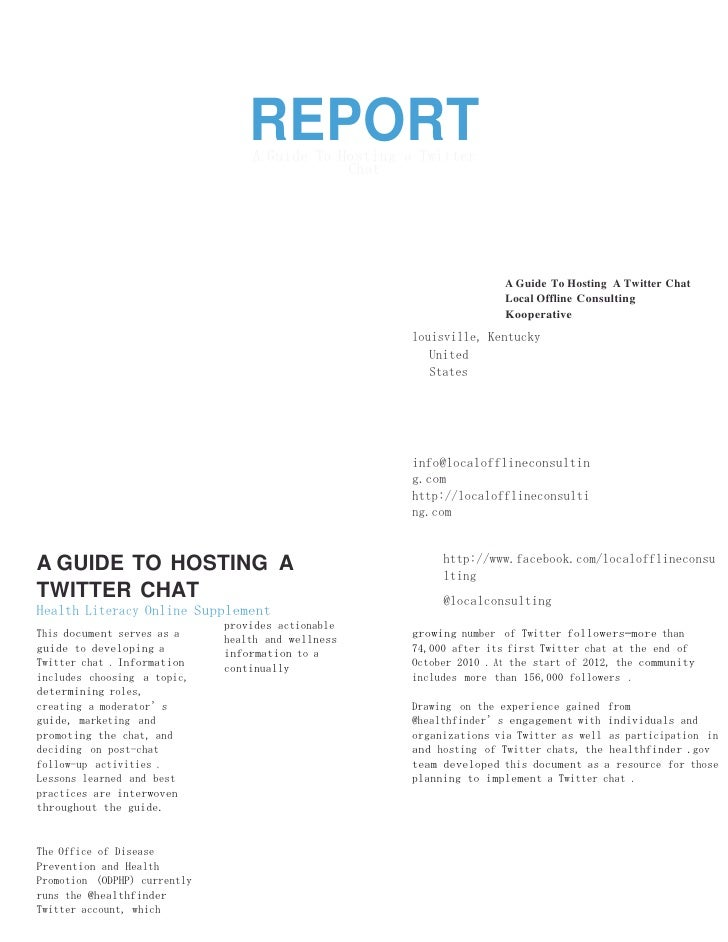 YOUR SOCIAL MEDIA                                  REPORT                                  A Guide To Hosting a Twitter   ...