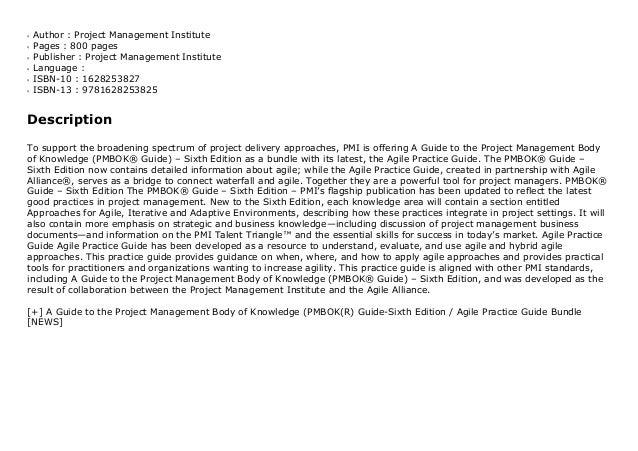 Author : Project Management Instituteq Pages : 800 pagesq Publisher : Project Management Instituteq Language :q ISBN-10 : ...