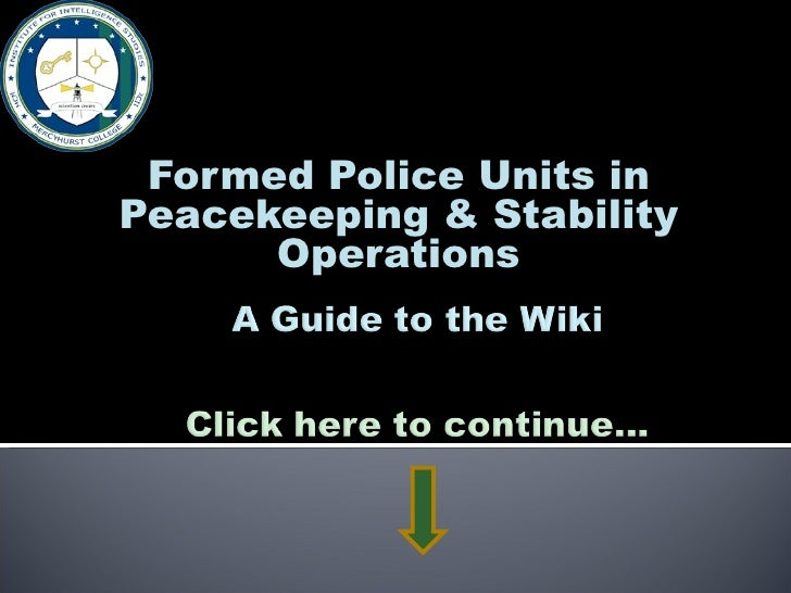 Formed Police Units in Peacekeeping & Stability Operations