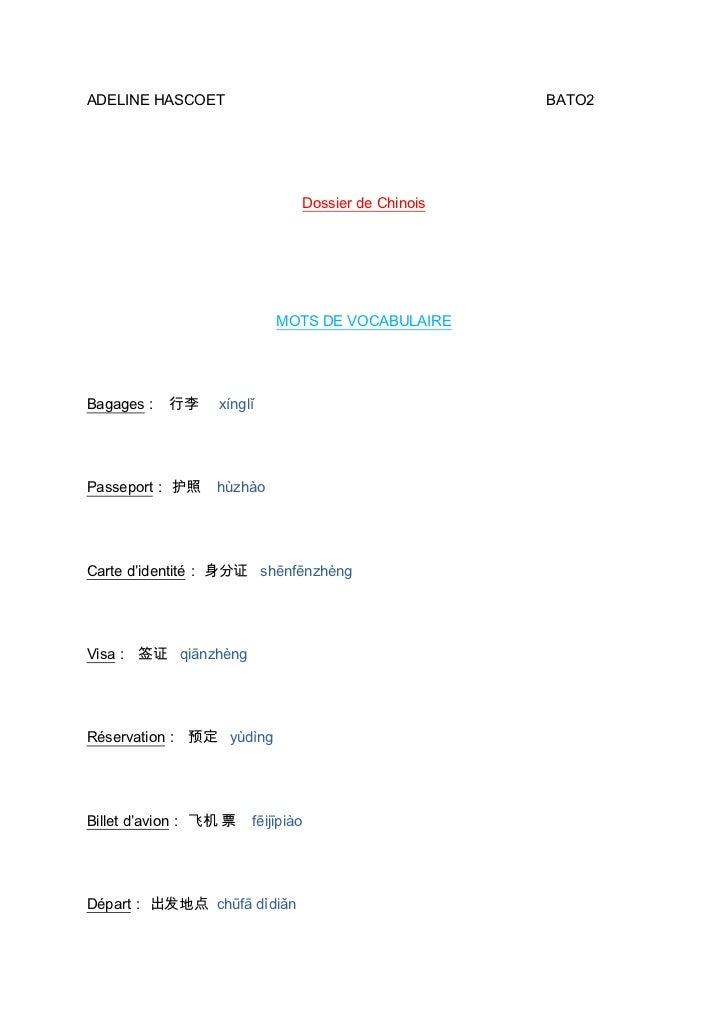 ADELINE HASCOET                                         BATO2                                   Dossier de Chinois        ...
