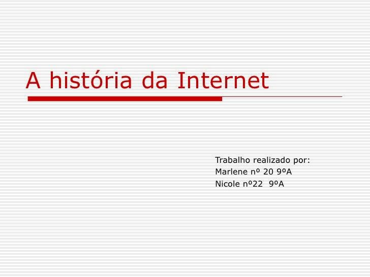 A história da Internet Trabalho realizado por: Marlene nº 20 9ºA Nicole nº22  9ºA
