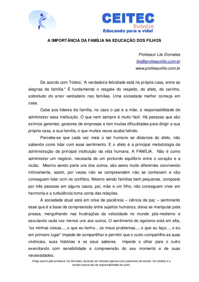 A IMPORTÂNCIA DA FAMÍLIA NA EDUCAÇÃO DOS FILHOS                                                                           ...