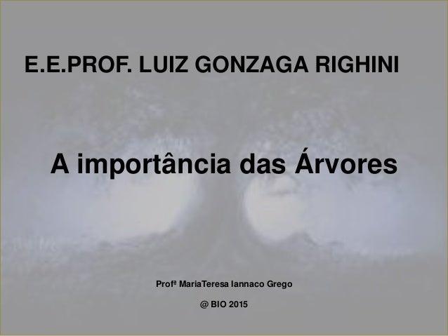 A importância das Árvores Profª MariaTeresa Iannaco Grego @ BIO 2015 E.E.PROF. LUIZ GONZAGA RIGHINI