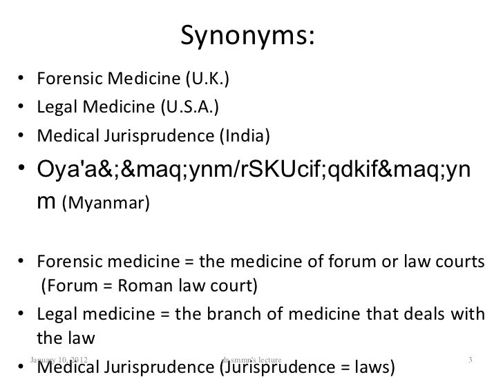 A. introduction to forensic medicine Slide 3