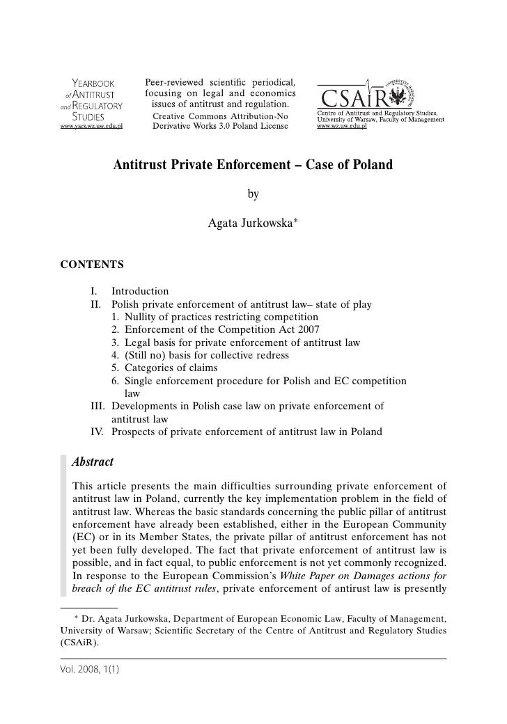 Antitrust Private Enforcement – Case of Poland                                             by                             ...