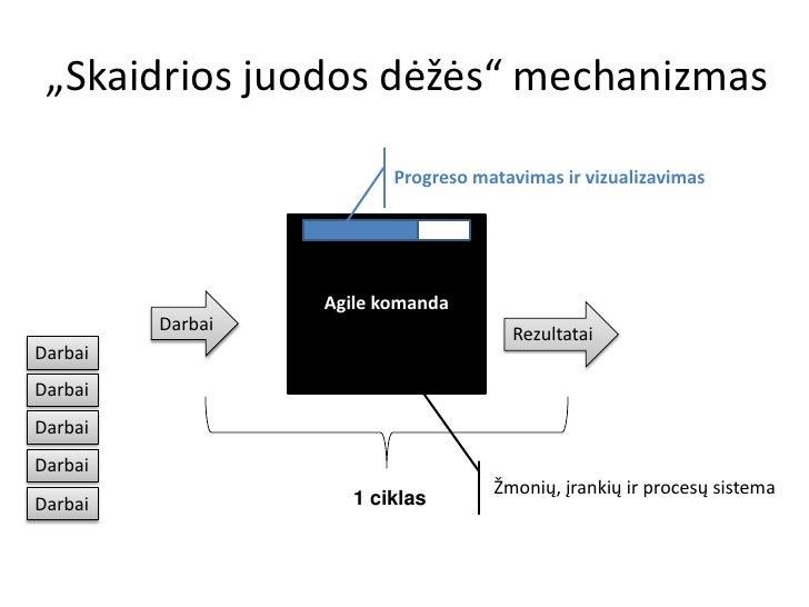 """""""Skaidrios juodos dėžės"""" mechanizmas                         Progreso matavimas ir vizualizavimas                  Agile k..."""