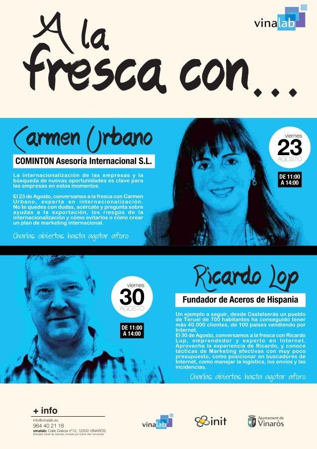 """""""A la fresca""""en Vinalab, Vinaroz (Castellón). Internacionalización de empresas y marketing online."""