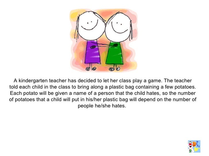 A kindergarten teacher has decided to let her class play a game. The teacher told each child in the class to bring along a...